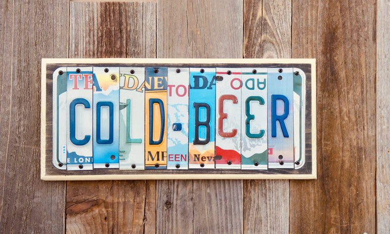 Cold Beer License Plate Sign