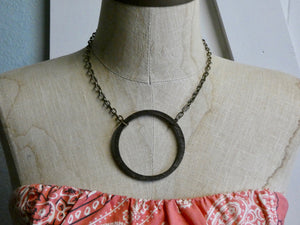 Circle Necklace, Large Ebony Birch Wood Infinity Necklace