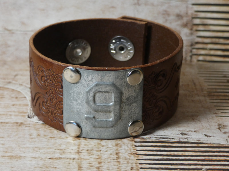 Leather Cuff Bracelet #9 Locker Number