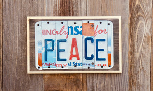 Peace License Plate Sign repurposed from license plates