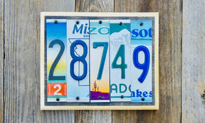 House Number Sign with License Plates