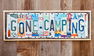 Gone Camping License Plate Sign repurposed from license plates
