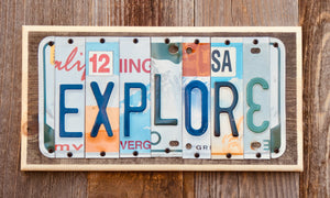 Explore License Plate Sign