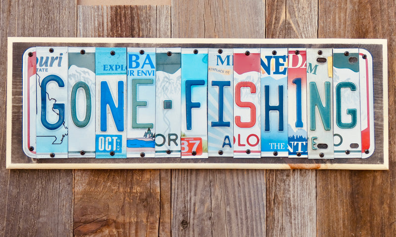 Gone Fishing License Plate Sign