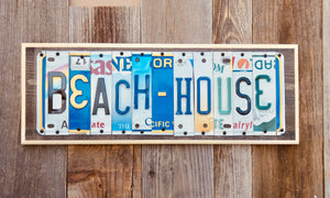 Beach House License Plate Sign
