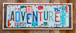 Adventure License Plate Sign