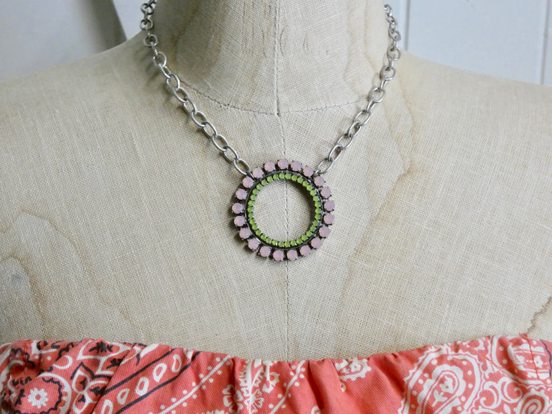Circle Necklace • Pink and Green Vintage Belt Buckle