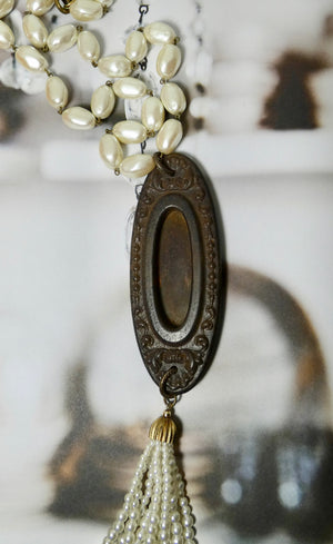 One of a Kind Vintage Pearls and Rustic Necklace