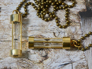 Sand Timer Necklace, Urn Necklace or put your own sand in the empty capsule