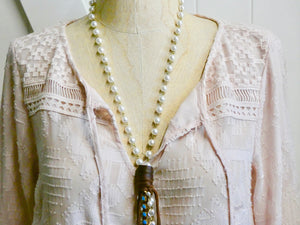 Lariat Style Pearl and Leather Necklace, Turquoise Rhinestone