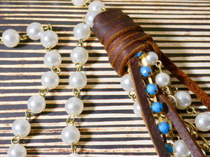 Lariat Style Pearl and Leather Necklace
