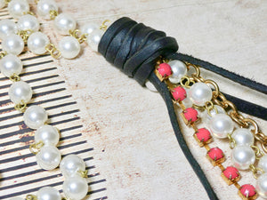 Lariat Style Pearl and Leather Boho Necklace