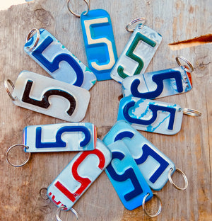 Number 1 Key Chain from repurposed License Plates