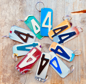 Number 5 Key Chain from repurposed License Plates