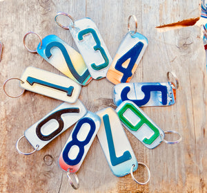 Number 4 Key Chain from repurposed License Plates