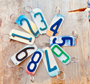 Number 6 Key Chain from repurposed License Plates