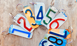 Number 7 Key Chain from repurposed License Plates