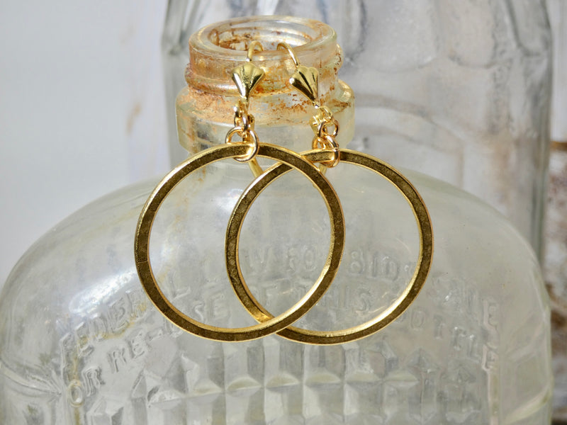 Circle Earrings, 14K Gold Plated Small Circle Infinity Earrings