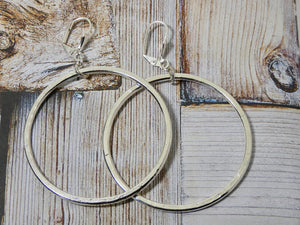 Circle Earrings, Sterling Silver Plated Medium Circle Infinity Earrings