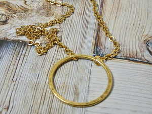 Circle Necklace, 14K Gold Plated Small Circle Infinity Pendant