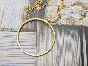 Circle Necklace, 14K Gold Plated Medium Circle Infinity Pendant