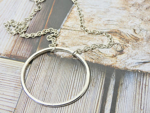 Circle Necklace, Sterling Silver Plated Medium Circle Infinity Pendant