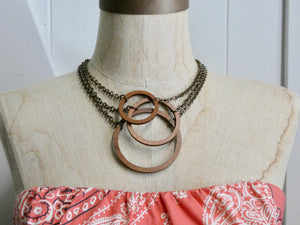 Wooden Circle Necklace, Medium Chestnut Birch Infinity Necklace