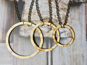Wooden Circle Necklace, Medium Natural Birch Infinity Necklace
