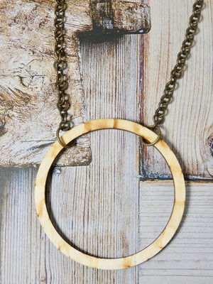 Wooden Circle Necklace, Large Natural Birch Infinity Necklace