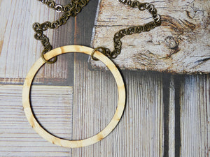 Circle Necklace, Large Natural Birch Wood Infinity Necklace