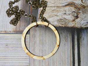 Circle Necklace, Medium Natural Birch Wood Infinity Necklace