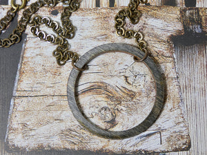 Wooden Circle Necklace, Medium Ebony Birch Infinity Necklace