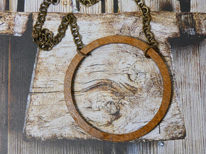 Wooden Circle Necklace, Large Chestnut Birch Infinity Necklace