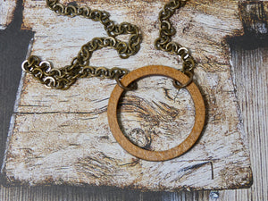Circle Necklace, Small Chestnut Birch Wood Infinity Necklace