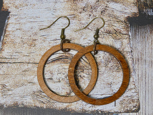 Wooden Circle Earrings, Chestnut Birch Small Circle Infinity Earrings