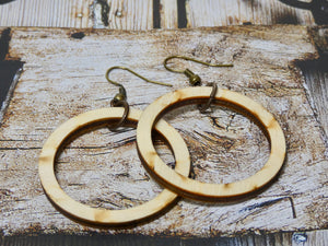 Wooden Circle Earrings, Natural Birch Small Circle Infinity Earrings