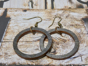 Wooden Circle Earrings, Ebony Birch Small Circle Infinity Earrings