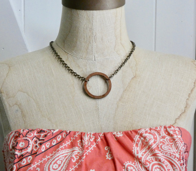 Wooden Circle Necklace, Small Chestnut Birch Infinity Necklace