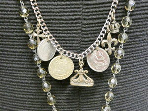Bronze Medallion Double Strand Coin Necklace