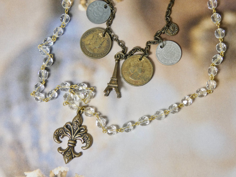 Fleur De Lis Eiffel Tower Double Strand Coin Necklace