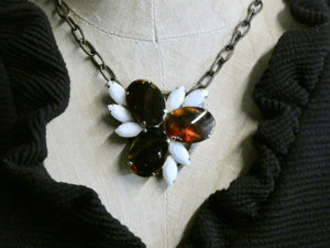One of a Kind Vintage Tortoise and chalk White Necklace