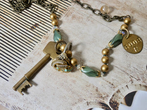 One of a Kind Vintage Skeleton Key and Charm Necklace