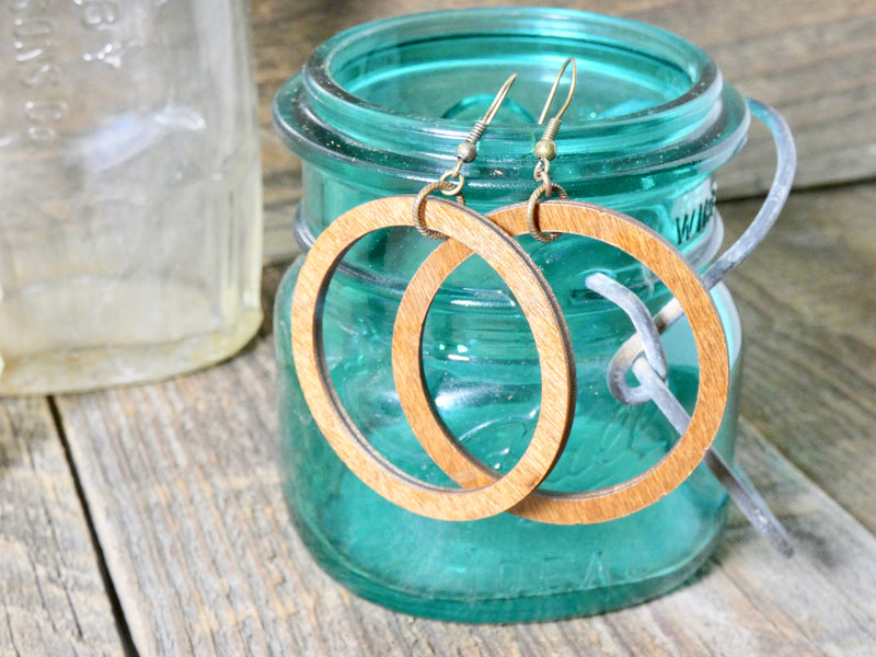 Wooden Circle Earrings, Chestnut Birch Medium Circle Infinity Earrings