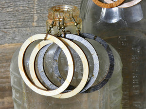 Wooden Circle Earrings, Ebony Birch Medium Circle Infinity Earrings