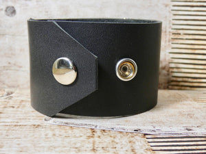 Leather Cuff Bracelet with Repurposed Shoe Clip