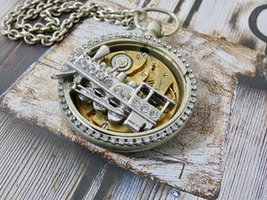 Train Brooch and Pocket Watch Gear Necklace