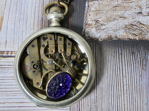 Vintage Pocket Watch Gear Necklace, Purple Spider Charm