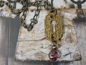 Vintage Key Hole and Key Cover Necklace