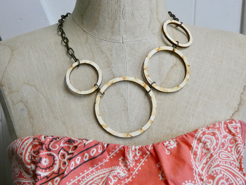 Wooden Circle Necklace- Four Natural Birch Wood Circles
