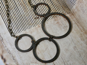 Wooden Circle Necklace- Four Ebony Circles